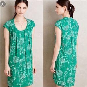 Anthropologie Maeve green floral au revoir dress